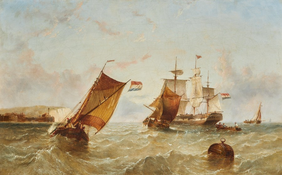 Henry Redmore, Dutch fishing vessels in a calm; Dutch fishing vessels off the English coast, a pair