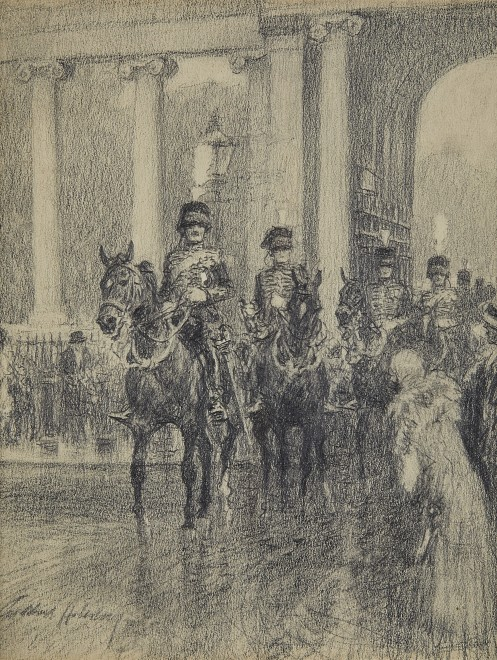 Gilbert Holiday, E Battery, Royal Horse Artillery, coming through Marble Arch to fire a salute in Hyde Park