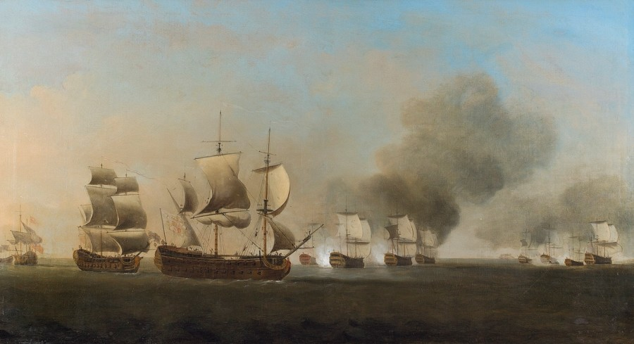 Admiral Sir Charles Knowles' Jamaica Squadron engaging a well-matched Spanish adversary off the Tortuga Banks as the latter prepares to make a run for the safety of Havana, 1st October 1748