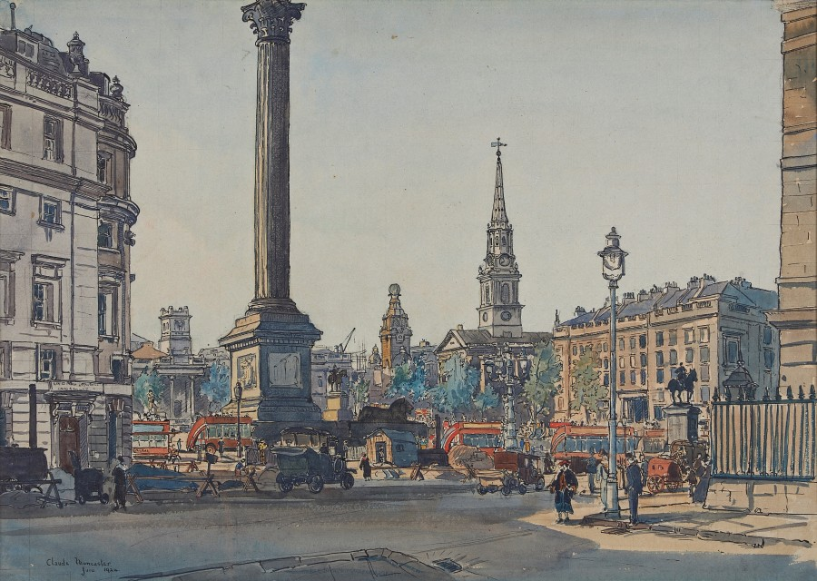 Claude Graham Muncaster, PRSMA, RWS, ROI, RBA, Nelson's Column from Admiralty Arch, London 1924