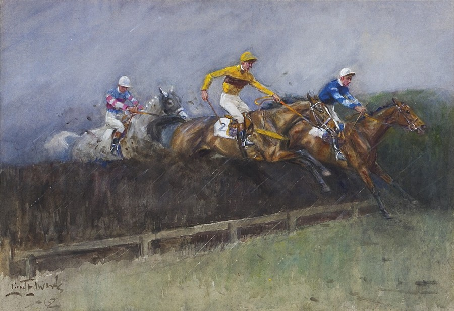 Lionel Edwards, RI, RCA, 'Battle of Giants', The Gold Cup, Sandown, 1961