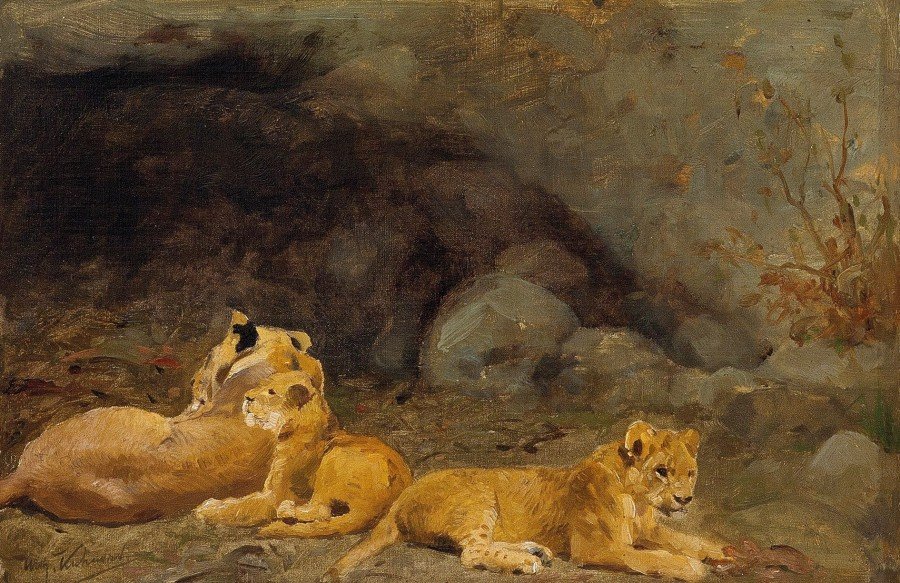 Wilhelm Kuhnert, A Lioness and her cubs