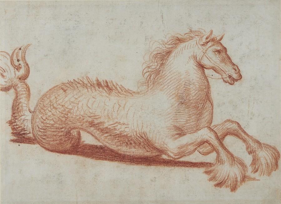 Italian School, 17th Century, Study of a mythical Hippocampus