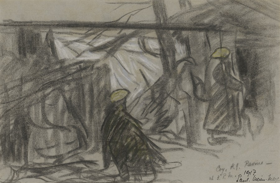 Paul Maze, Sentry duty at Company Headquarters by a ravine on the Western Front, 1917