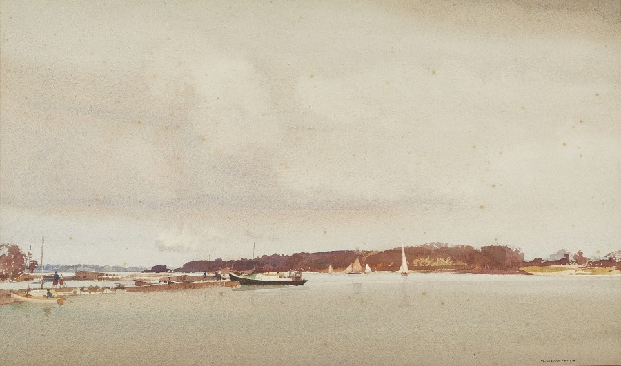 Sir William Russell Flint, RA, PRWS, High Tide, Birdham, Chichester Channel, Easter Monday, March 25, 1940