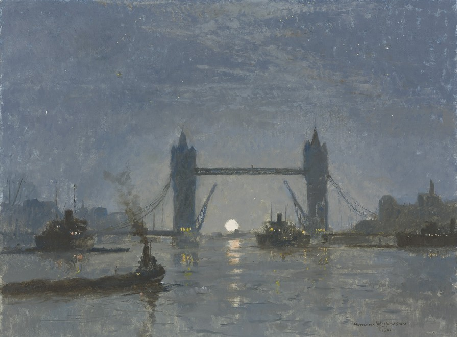 Norman Wilkinson, CBE, SMA, PRWS, RI, Moonlit Thames: Tower Bridge