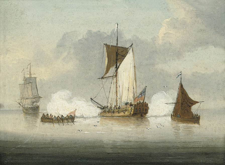 Francis Swaine, An Admiralty yacht lying offshore and saluting the departure of a senior officer