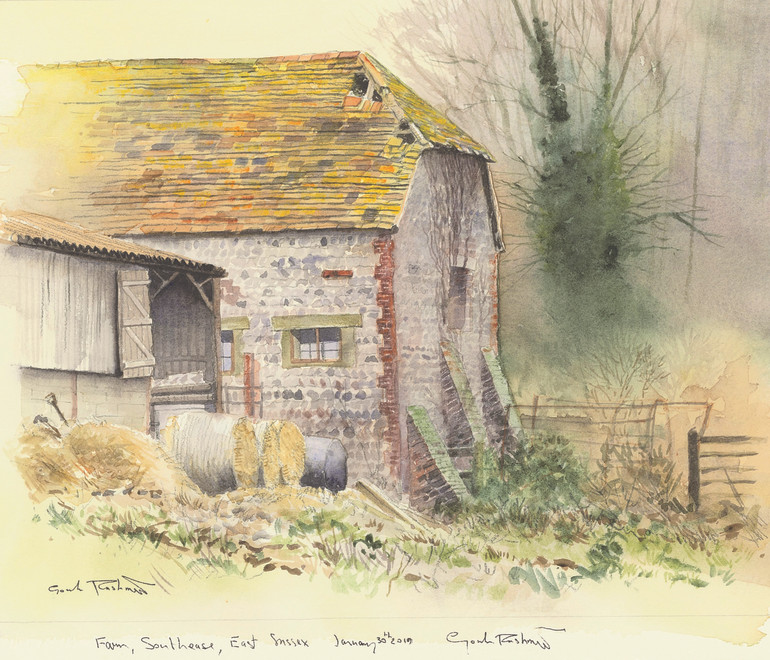 Gordon Rushmer, Barn, Bales and Buttresses, Southease