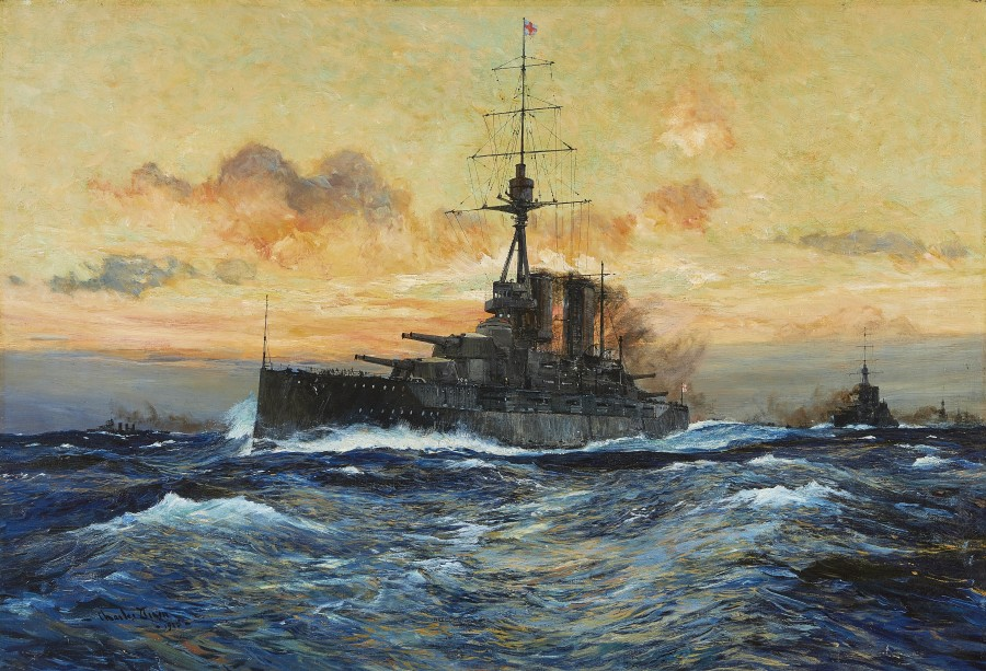 Charles Edward Dixon, H.M.S. Queen Elizabeth and other warships at sea, 1915