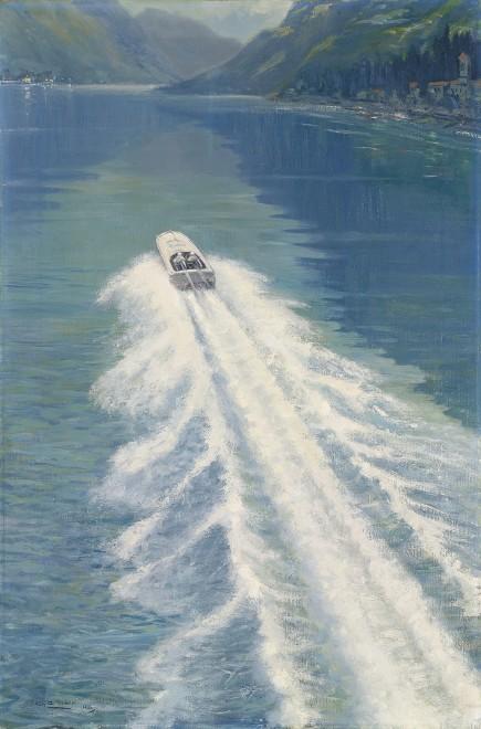 Roy Nockolds, Kaye Don beating Gar Wood's water speed record, on Lake Garda, 1931