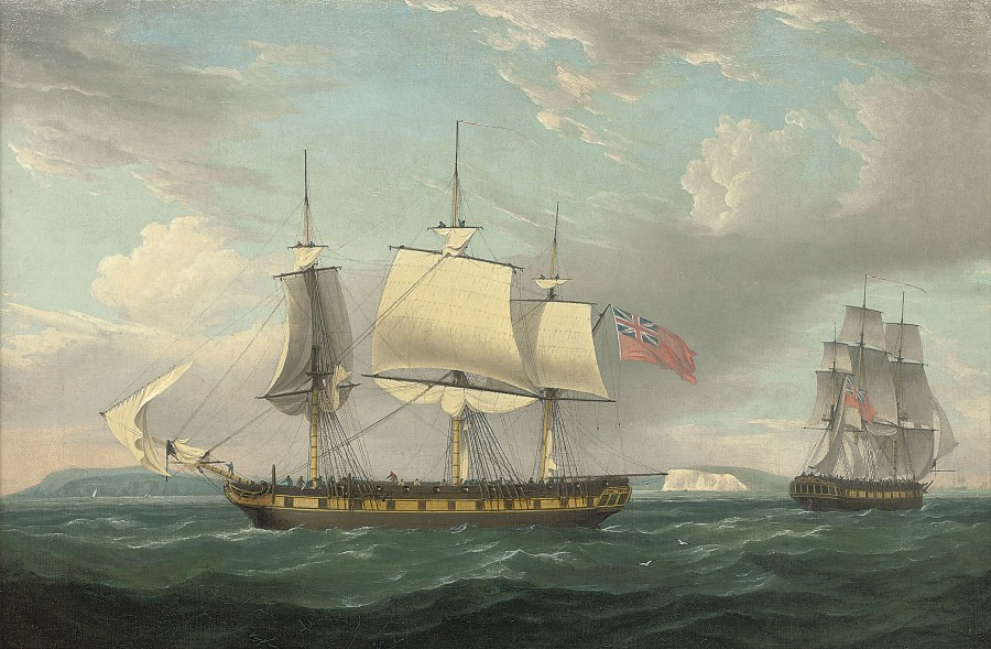 Thomas Whitcombe, A merchantman in two positions off the South coast