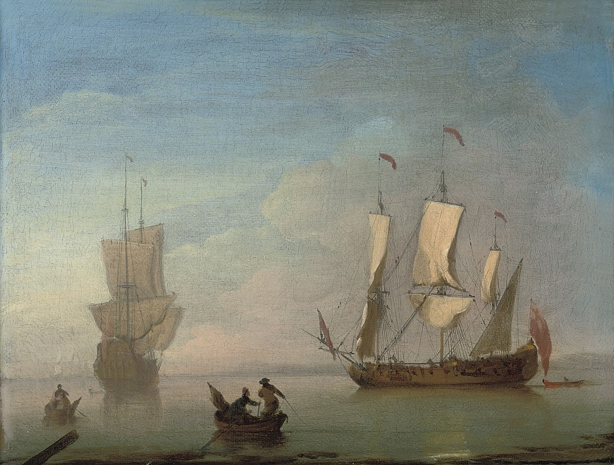 Peter Monamy, A Man O'War arriving at a quiet anchorage