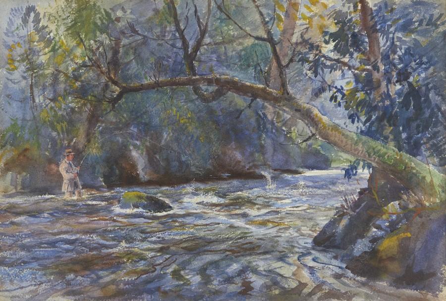Arthur James Wetherall Burgess, RI, ROI, RBC, RSMA, Salmon fishing