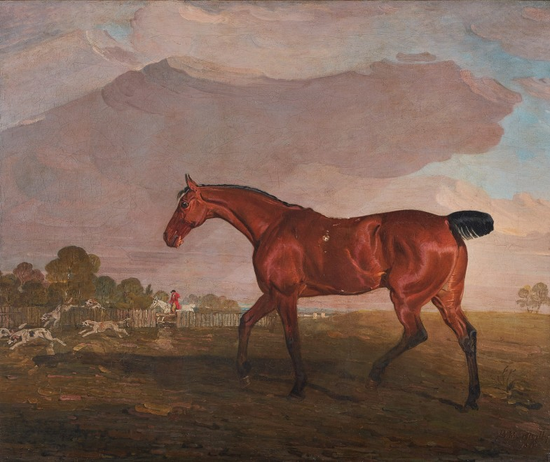 Benjamin Marshall, Portrait of a bay horse in a landscape