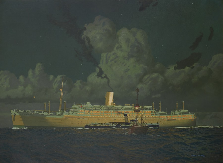 Charles Pears, PSMA, ROI, The Orient liner Orcades outward bound on a starlit night and passing the Calshot Spit lightship in Southampton Water