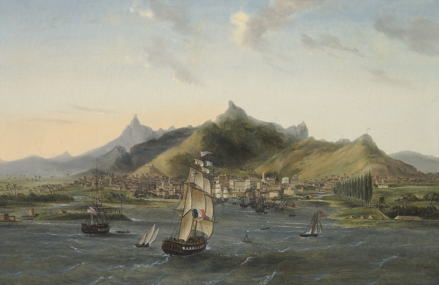 Louis Burgade, The merchantman 'Europe' entering the harbour at Port Louis, Mauritius
