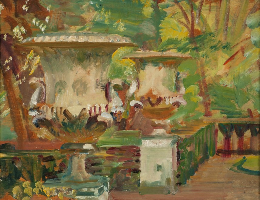 Sir Alfred James Munnings, PRA, RWS, A sketch from the gardens at Cliveden House, seat of the Astors