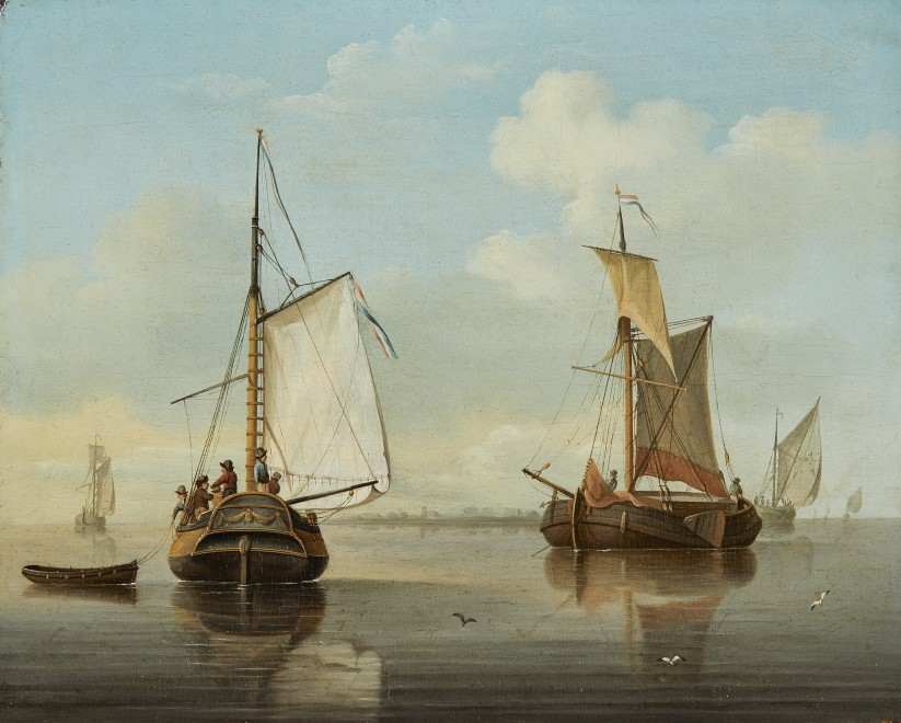 Dutch School, Coastal craft in a calm, a pair