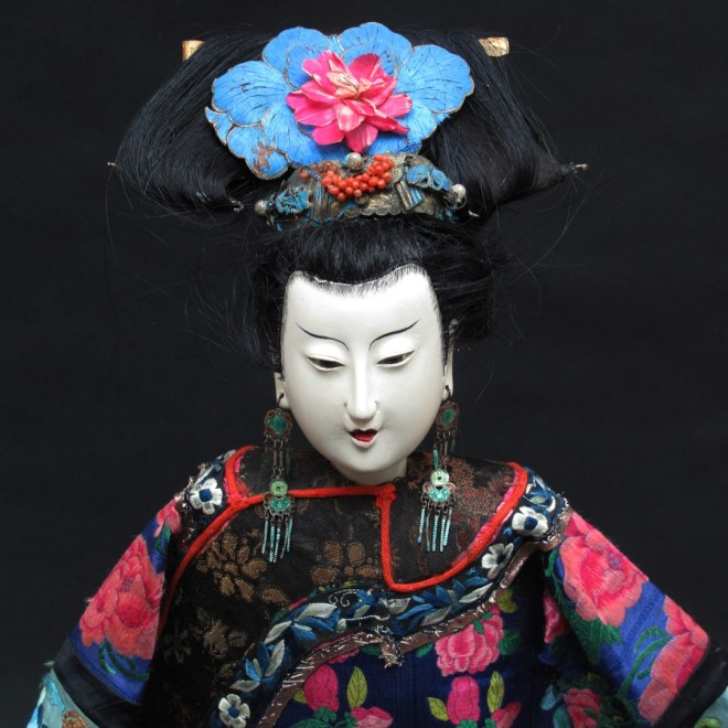 19th century Chinese figure with original embroidered Peking knot clothing, jewellery and butterfly wing headdress.