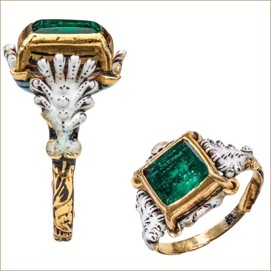 Emerald and Enamel Solitaire Ring
