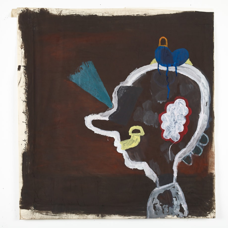 Eric Bainbridge  Idiot against a dark landscape, 1980  Acrylic and oxide on paper  152.4 x 152.4 cms 60 x 60 inches