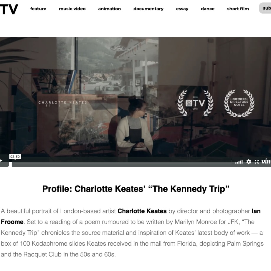 "Profile: Charlotte Keates' ""The Kennedy Trip"""