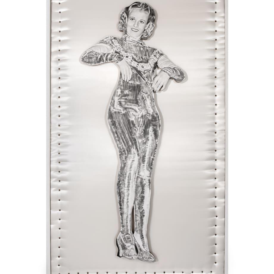 Nina Mae Fowler Jane (Leaning Board III), 2013 Pencil on paper, wood, satin + upholstery pins 1220 x 2120 x...