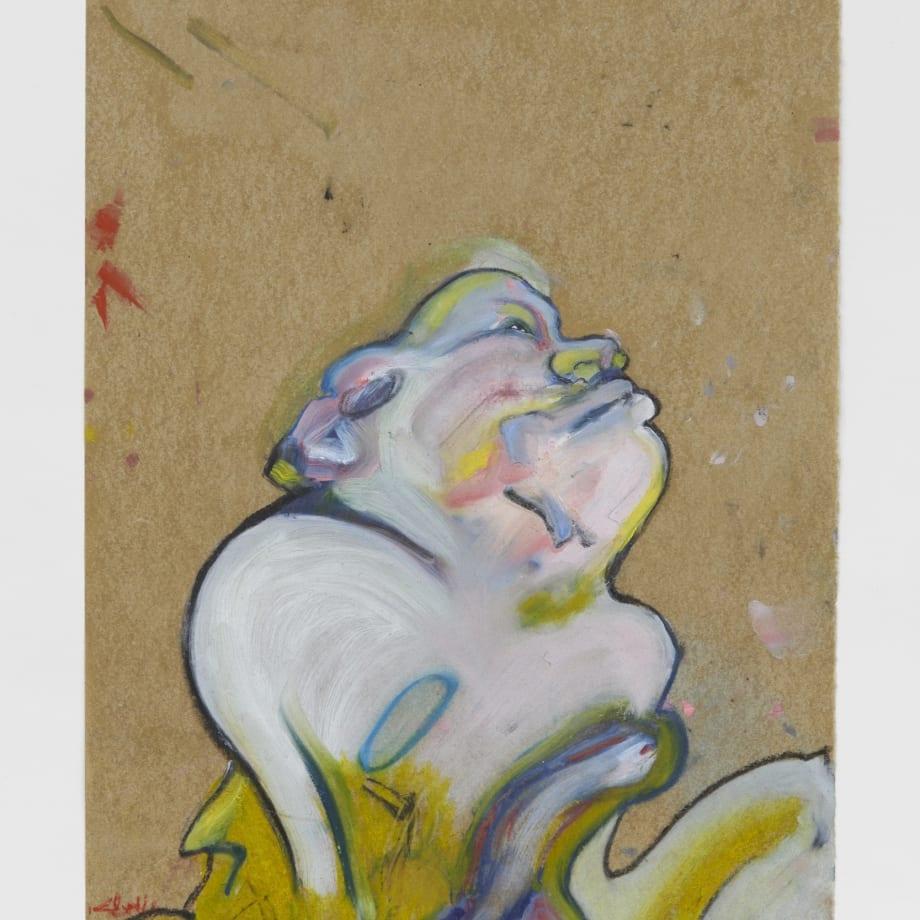 Most Hideous Jig, 2021, Oil pastel, oil paint, oil primed sugar paper, 16 1/2 x 11 3/4 in
