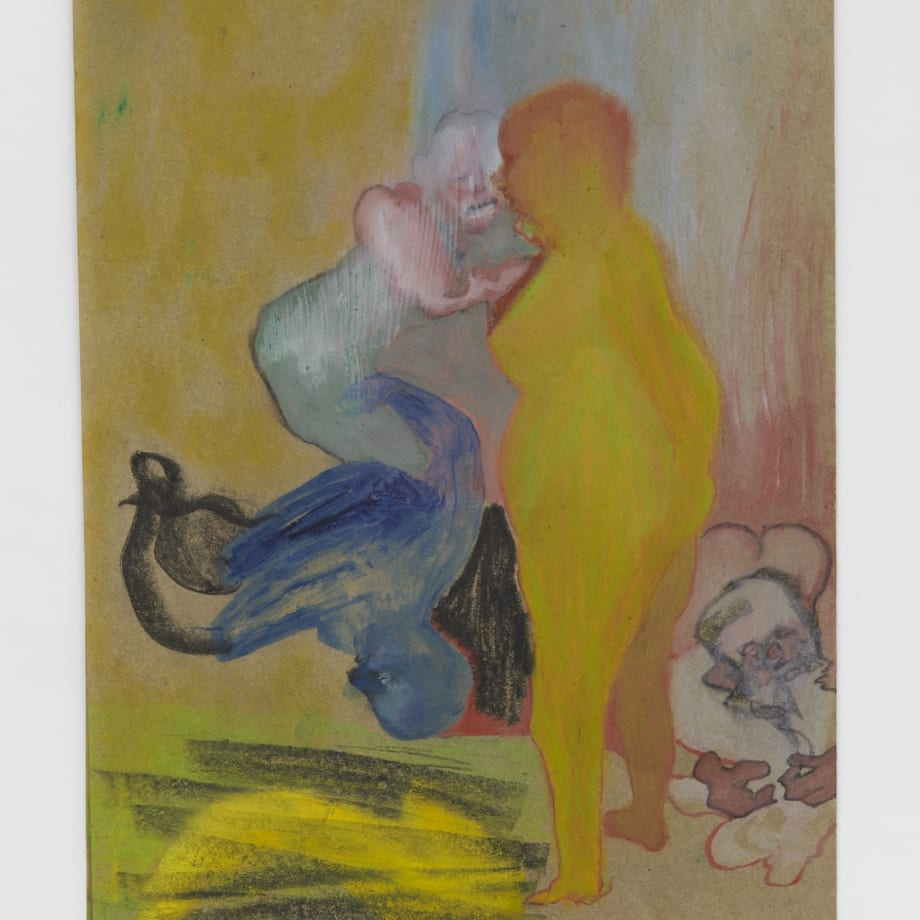Summons in Yellow, 2021, Oil pastel, oil paint, oil primed sugar paper, 16 1/2 x 11 3/4 in