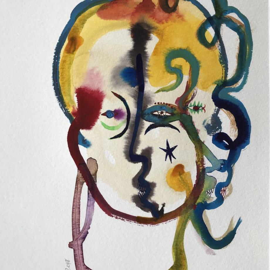 Wole Lagunju, Frieda, 2017, Inks on paper, 30.5 x 22.9 cm