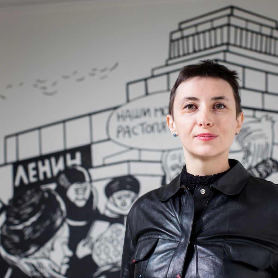 Victoria Lomasko at her exhibition On the Eve, Pushkin House, London, UK, 2018