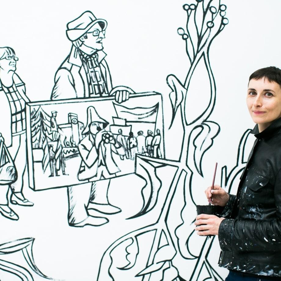 Victoria Lomasko, installing Separated World, Edel Assanti, London, UK, 2019. Photo by Eugenia Basyrova.