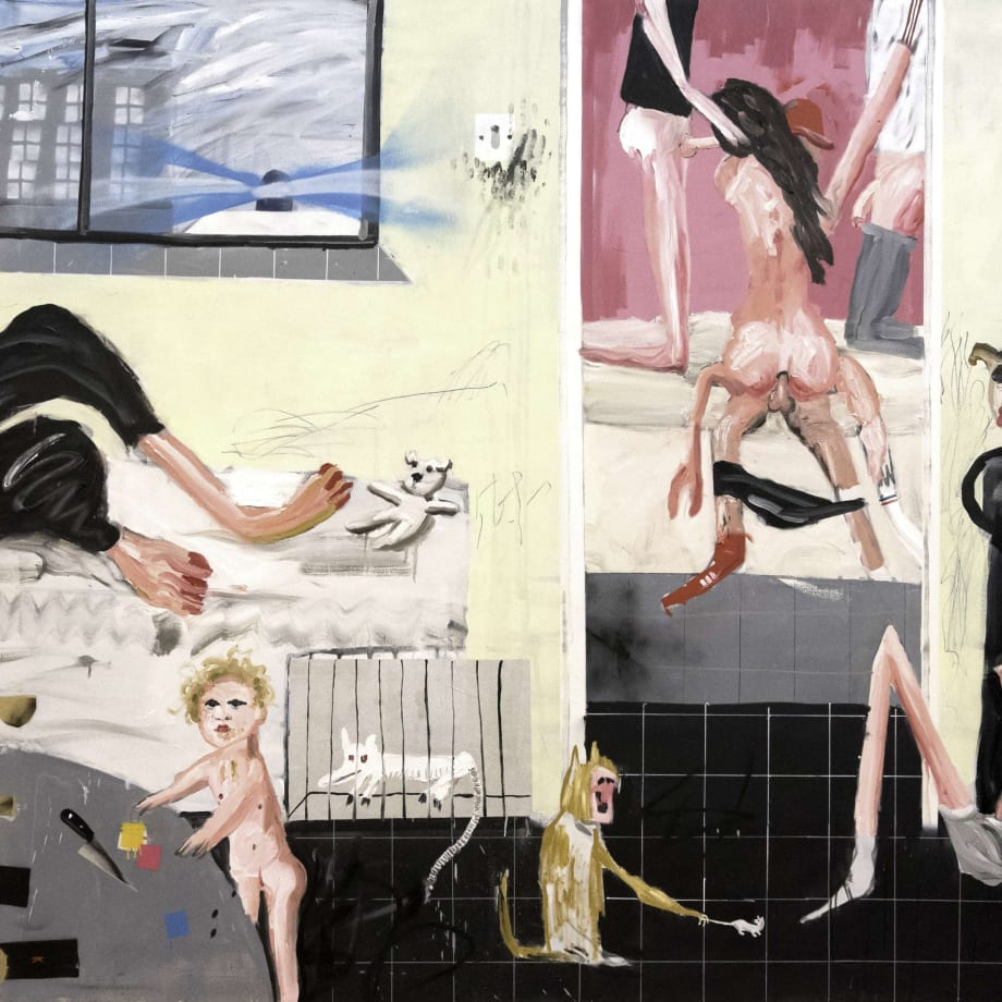 Dale Lewis, Deep Fat Fryer, 2015, oil, acrylic and spray paint on canvas, 200 x 400 cm
