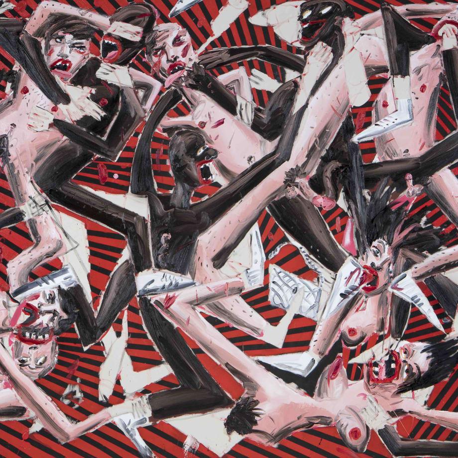 Dale Lewis, Devil's Juice, 2018, oil, acrylic and spray paint on canvas, 200 x 400 cm