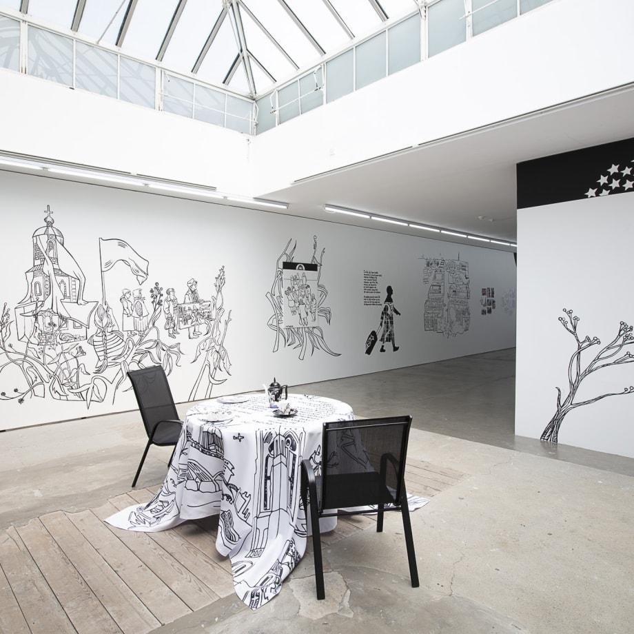 Victoria Lomasko, Seperated World, 2019, installation view, Edel Assanti, London, UK