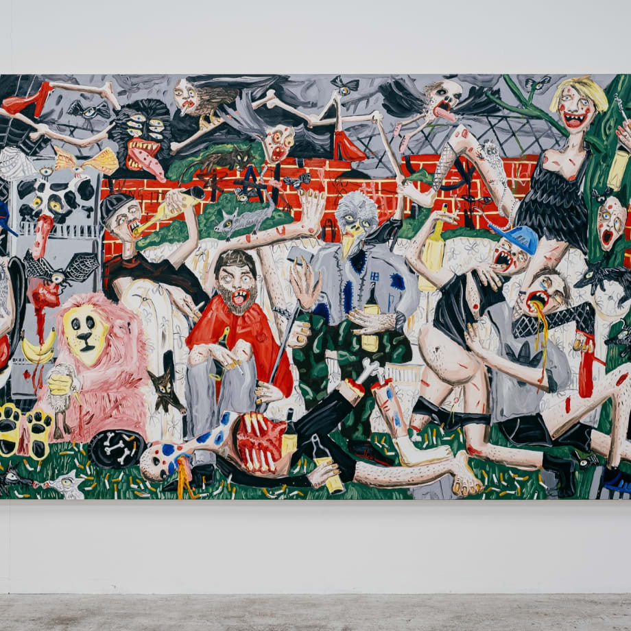 Dale Lewis, The Great Day, 2020, oil, acrylic and spray paint on canvas, 200 x 400 cm