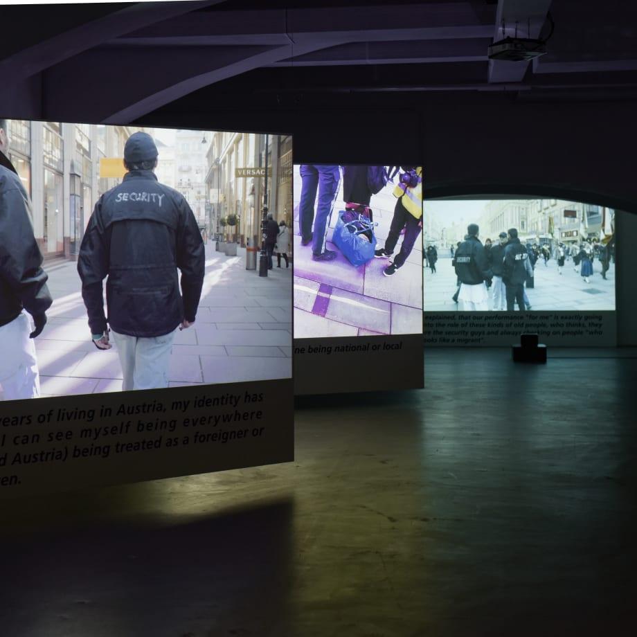 Yoshinori Niwa, Immigrants are Guarding This Country, installation view, Das Weisse Haus, Vienna, 2020