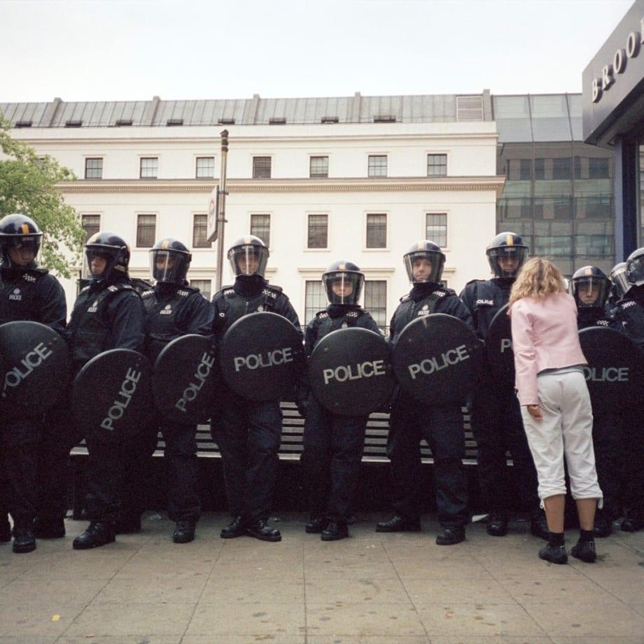 Vinca Petersen, Pink Girl and Riot Cops, 2000.