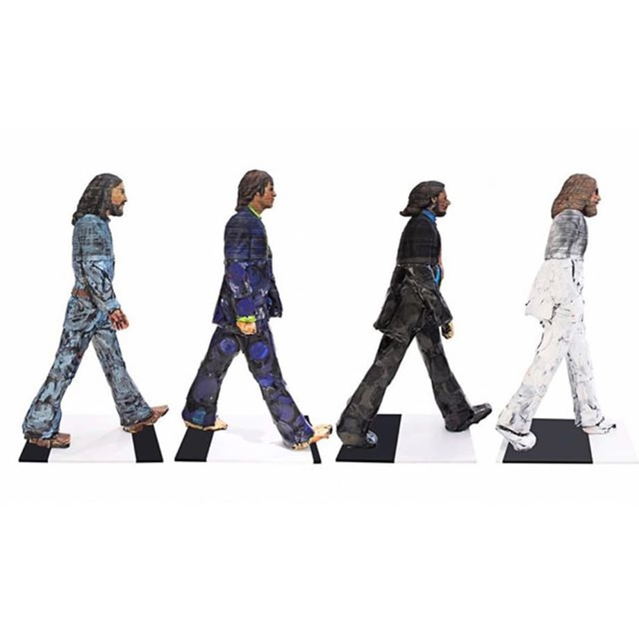 "50 years ago today, on August 8, 1969, the Beatles crossed Abbey Road, making it one of the most famous pictures in pop culture today. In celebration of the 50th year anniversary, Gefen Fine Art is thrilled to present the only life-sized recreation of the Abbey Road album cover by Belgian artist, Georges Monfils. ""Crossing Abbey Road"" is constructed using approximately 10,000 hand-cut vinyl records. The top half of each sculpture contains about 2,000 hand-cut records and the bottom half contains about 450 melted records. The records are either hand-cut using a speed scroll saw and pliers or melted and warped using a professional heat gun. John, Ringo, Paul and George have all been constructed to meet their exact heights. This monumental sculpture set is available exclusively from Gefen Fine Art. Please contact for pricing."