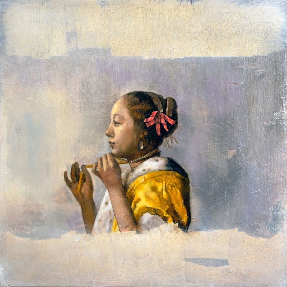 After Girl with a Pearl Necklace | 2018 | Oil on board | 40.5 x 40.5 cm