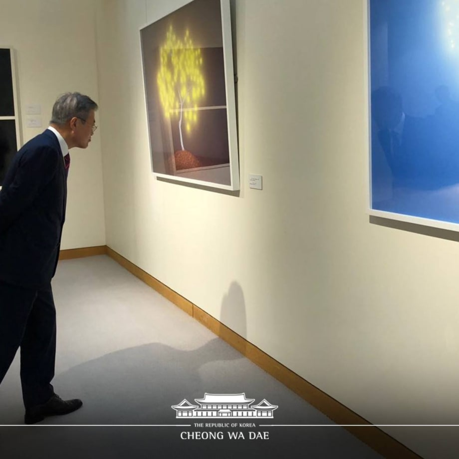 President Moon Jae-in admires the