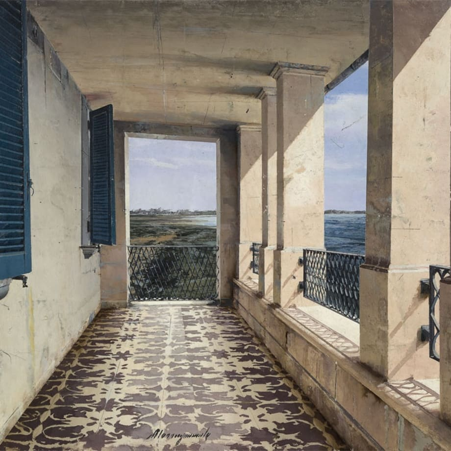 Mezzogiorno, oil on board, 12 x 24""