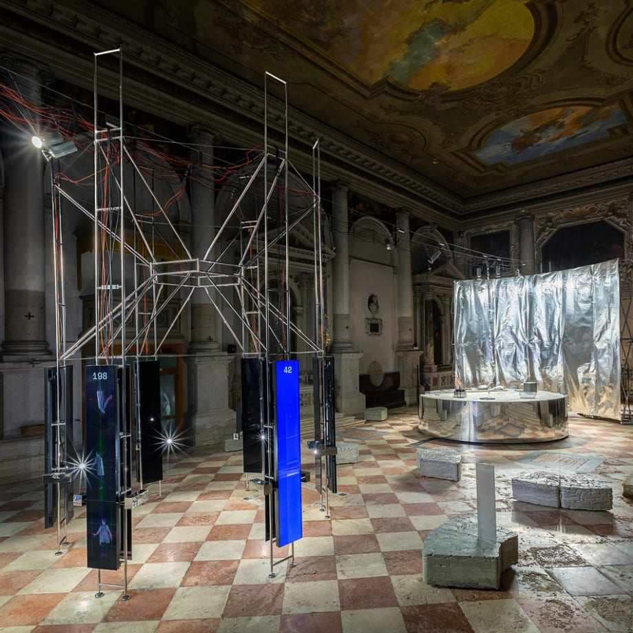 Installation view of the Lithuanian Space Agency's laboratory by Julijonas Urbonas at the Biennale Architettura 2021, Venice; Photo by Aistė...