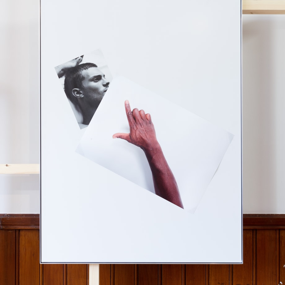 Simeon Barclay An Arrangement on white in perspective (cock on mate), 2015 Clear acrylic, Diabond, inkjet print, tape 119 x 90 x 2.5 cm Courtesy of the artist and Workplace Foundation