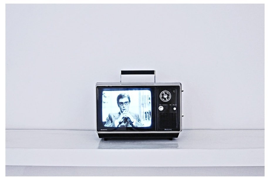 Aural Fascination, 2012 Small portable TV, universal modulator, DVD player, video Duration: Looped