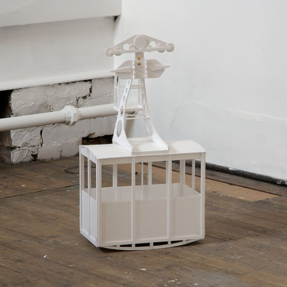 Cath Campbell Cable Car, 2011 Foamboard, brass pins 35 x 25 x 60 cm 13 3/4 x 9 7/8 x 23 5/8 in