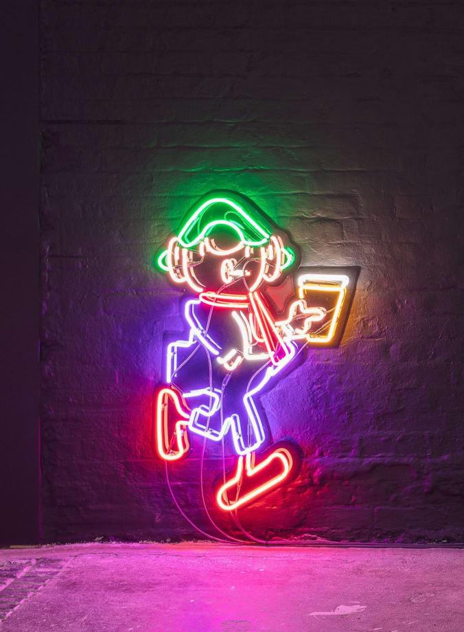 Simeon Barclay, Handicap, 2016 Multi colour neon, black acrylic (SB0006)