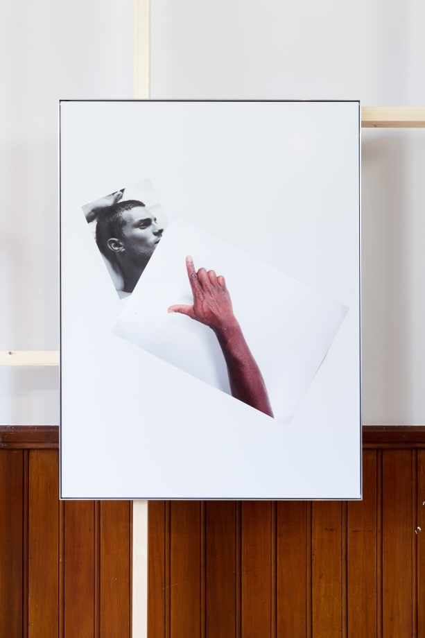 Simeon Barclay An Arrangement on white in perspective (cock on mate), 2015 Clear acrylic, Diabond, inkjet print, tape 119 x 90 x 2.5 cm, Courtesy of the artist and Workplace Foundation