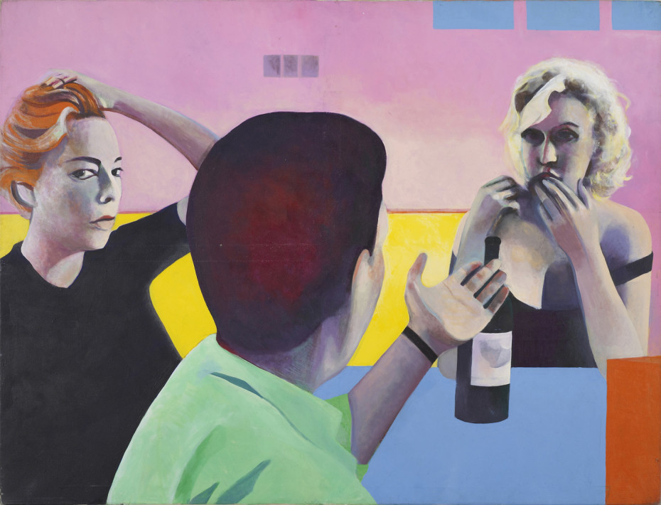 <div class=&#34;artist&#34;><strong>Sue Dunkley</strong></div><div class=&#34;title_and_year&#34;><em>Untitled (Marilyn, Yves & Simone)</em>, c. 1975</div><div class=&#34;medium&#34;>Oil on canvas</div><div class=&#34;dimensions&#34;>140 x 183 cm<br/> 55 1/8 x 72 1/8 ins</div>