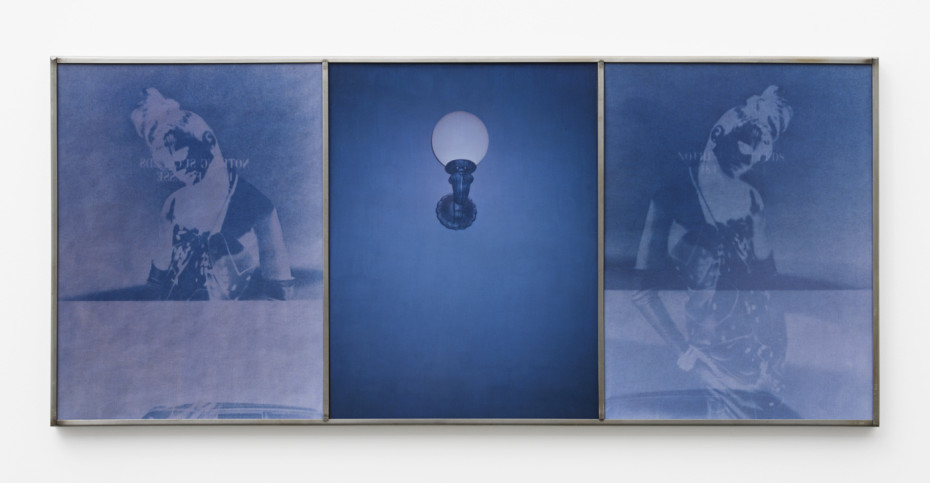 Birgit Jürgenssen  Untitled, 1990  Cyanotype, color photograph and fabric  39 x 29.5 cm, 15 3/8 x 11 5/8 ins, each panel  40 x 90 cm, 15 3/4 x 35 3/8 ins, overall, framed  Signed & dated